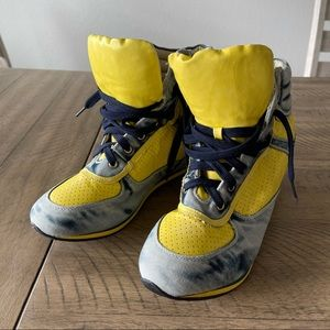Bumper Distressed Denim and Yellow Mesh Wedges -11
